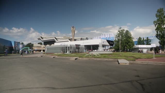 vídeos de stock e filmes b-roll de general views the mercedesbenz ag pavilion which stands at the lenexpo center ahead of the st petersburg international economic forum 2013 in st... - 2013