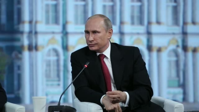 general views vladimir putin russias president speaks during the plenary session of the st petersburg international economic forum in saint... - wladimir putin stock-videos und b-roll-filmmaterial