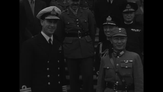 general vs minister of war national military he yingqin talks with allied commander in southeast asia lord louis mountbatten they shake hands... - chiang kai shek stock videos and b-roll footage