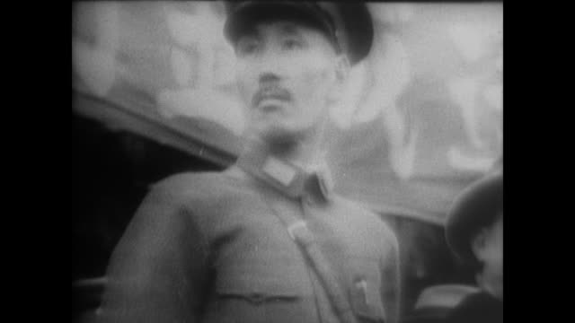 generalissimo chiang kaishek and his troops work with red army to prepare for japanese invasion of shanghai - 1937 stock videos & royalty-free footage