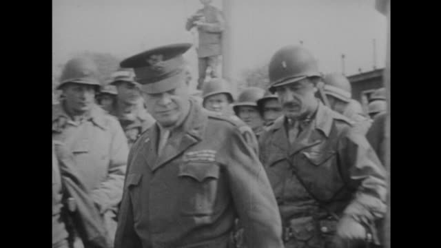 generals eisenhower and patton visit the death camps - formato hd video stock e b–roll