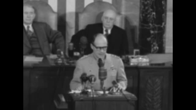 generals seated one omar bradley / gen matthew ridgway speaking at podium before microphones vice president alben barkley and speaker of the house... - sam rayburn stock videos and b-roll footage