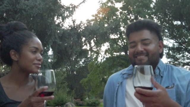 vídeos y material grabado en eventos de stock de generación z masculino y femenino pic nic outing en verano bebiendo vino al aire libre - generation z