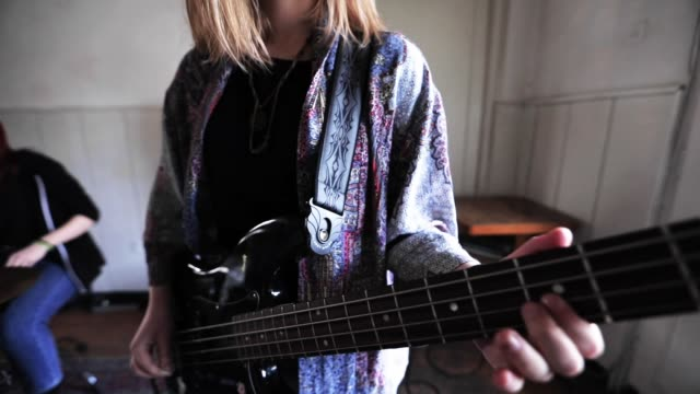 generation z music band rehearsal - bass guitar stock videos & royalty-free footage