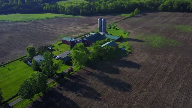 generic aerial of fields and farm on display on tuesday may 30th 2017 in dufferin ontario canada - ontario canada stock videos & royalty-free footage
