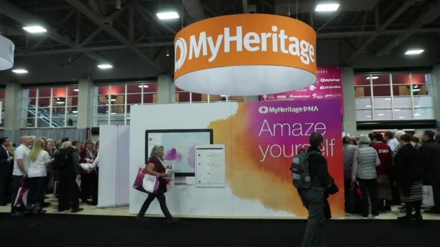 Generic footage of various booths and attendees at the 2017 RootsTech Conference in Salt Lake City UT on February 9 2017 Shots wide slight pan left...