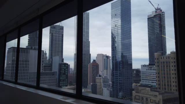 generic new york office window view in financial district - manhattan stock videos & royalty-free footage