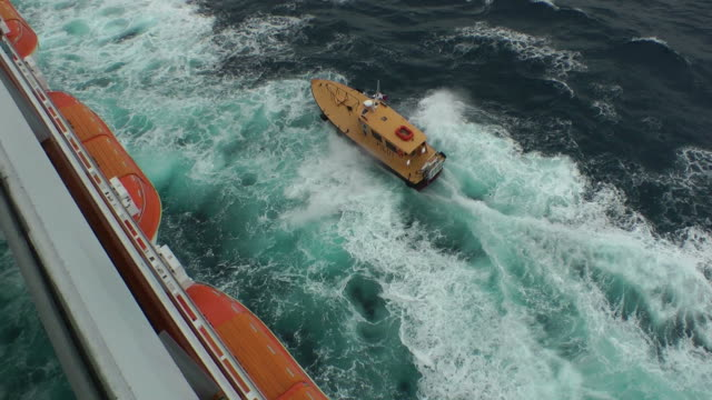 generic pilot boat escorting a ship that leaves the harbor - piloting stock videos and b-roll footage