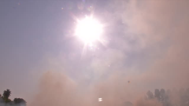 generic shot of stubble burning and polluting the environment in ludhana. heavy smoke is coming out from the stubble burning. the maximum cases of... - stubble stock videos & royalty-free footage
