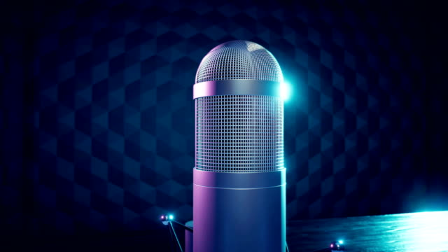 generic vintage stylized broadcast microphone - microphone stock videos & royalty-free footage