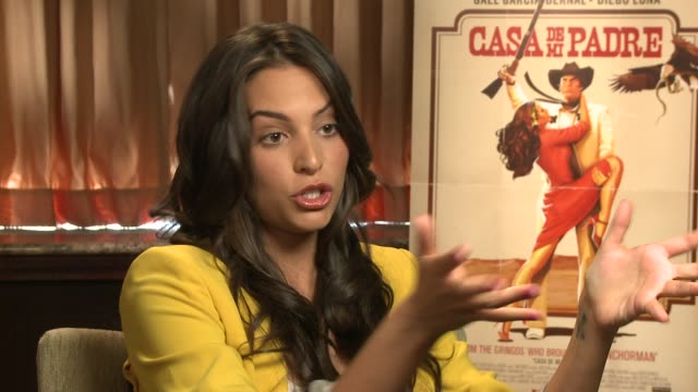 genesis rodriguez jokes about the scene where her butt is exposed at casa de mi padre new york press day on 3/10/2012 in new york ny united states - padre stock videos & royalty-free footage