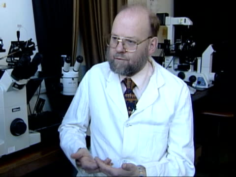 human cloning cult claim may be hoax itn scotland edinburgh professor ian wilmut interview sot talks of why he doubts human cloning claims order ref... - cult stock videos & royalty-free footage