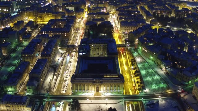 Geneva downtown aerial view in the night