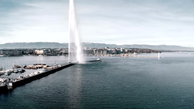 Geneva Jet D'eau fountain from Aerial view