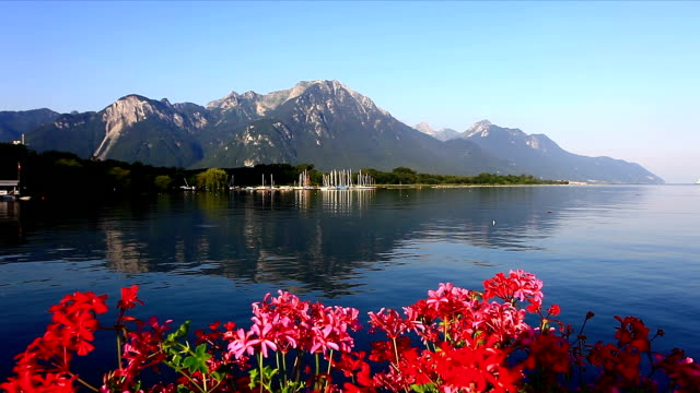geneva lake with alpes - montreux stock videos and b-roll footage