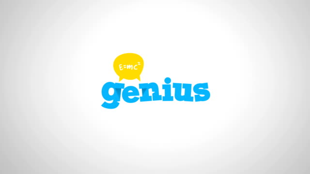 genius logo with equation of einstein mass-energy equivalence formula 4k logo animation, conversation, headhunting, science, education and business, school, university concept with coloured, green screen and alpha versions - finding stock videos & royalty-free footage