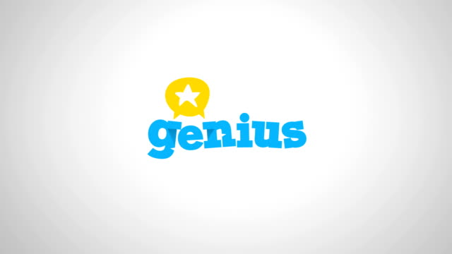 genius logo with star 4k logo animation, conversation, headhunting, science, education and business, school, university concept with coloured, green screen and alpha versions - genius stock videos & royalty-free footage