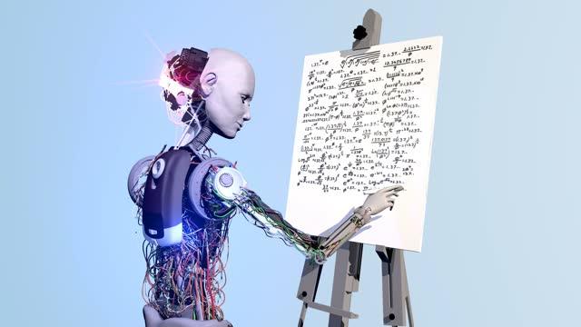 genius scientist robot - mathematical symbol stock videos & royalty-free footage