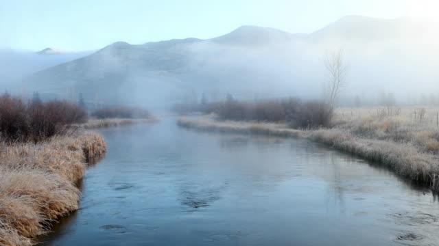 vídeos y material grabado en eventos de stock de gentle creek flows through fog towards mountains - the nature conservancy