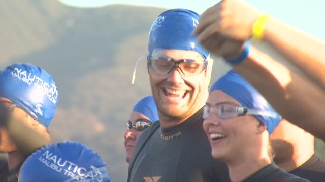 geoff stults at 26th annual nautica malibu triathlon on 9/16/12 in malibu ca - nautica malibu triathlon stock videos & royalty-free footage