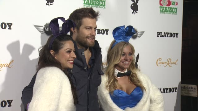 geoff stults at the playboy party presented by crown royal at jax brewery bistro on february 01, 2013 in new orleans, louisiana - ジェフ スタルツ点の映像素材/bロール