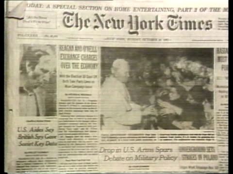 geoffrey arthur sentenced for spying usa washington cs the new york times paper with prime's photograph on front page ms ditto washington post zoom... - ニューヨークタイムズ点の映像素材/bロール