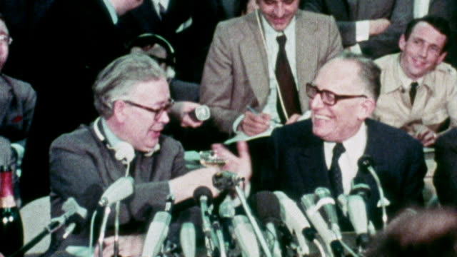 1973 montage geoffrey rippon speaking at press conference as the united kingdom joins the eec / brussels, belgium - 1973 stock videos & royalty-free footage