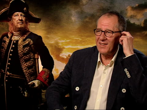 geoffrey rush on filming locations on pirates inventing shorts simon pegg at the pirates of the caribbean on stranger tides junkets at london england - simon pegg stock videos & royalty-free footage