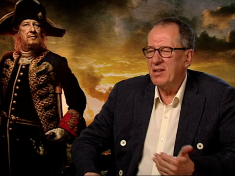 geoffrey rush on the films morphing, barbossa, 3d, locations, the script and more at the pirates of the caribbean - on stranger tides junkets at... - morphing stock videos & royalty-free footage