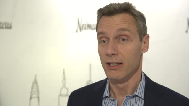 geoffroy van raemdonck, neiman marcus ceo on what is special about this opening at neiman marcus hudson yards grand opening at hudson yards on march... - ニーマン・マーカス点の映像素材/bロール