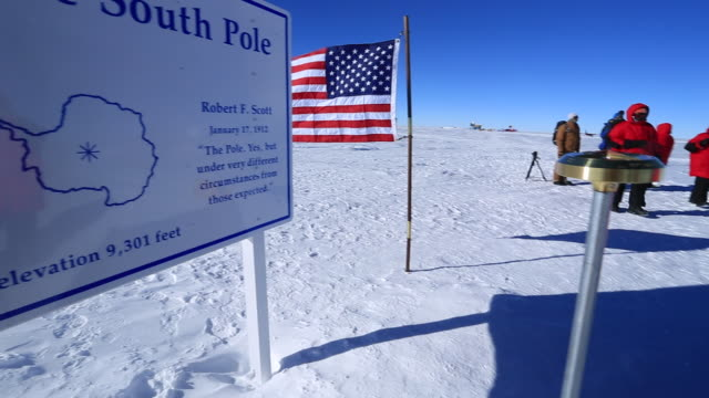 geographic south pole sign - antarctica scientist stock videos & royalty-free footage