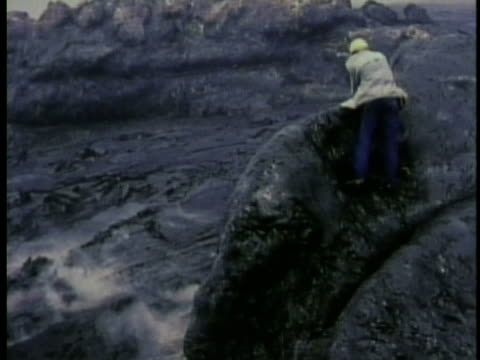 1970 ms pan geologist doing fieldwork out in volcanic landscape / hawaii / audio - 1970 stock videos & royalty-free footage
