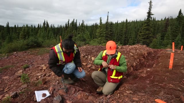 geologists survey land for iron deposits geologists extracting rock samples from the ground geologists taking measurements and surveying maps century... - geologist stock videos & royalty-free footage