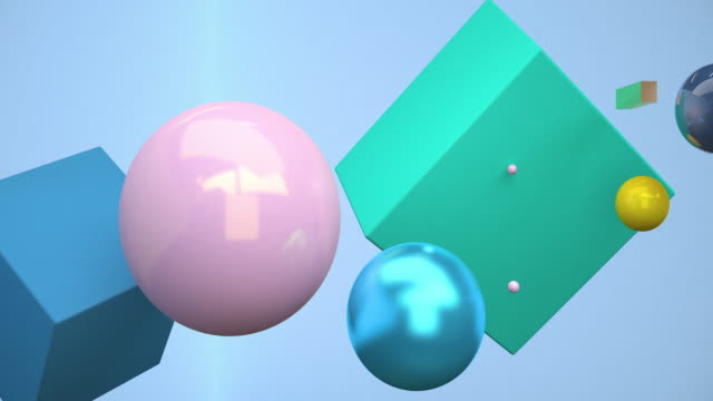 vidéos et rushes de rendu géométrique 3d flottant. concept: contexte abstrait , motion graphique , parti. - carré forme bidimensionnelle