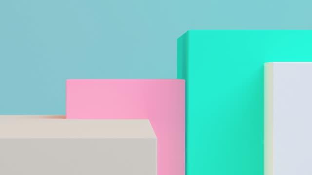 背景のジオメトリ 3d レンダリング。コンセプト: 抽象的な背景 , モーショングラフィック , パーティー. - パステルカラー点の映像素材/bロール