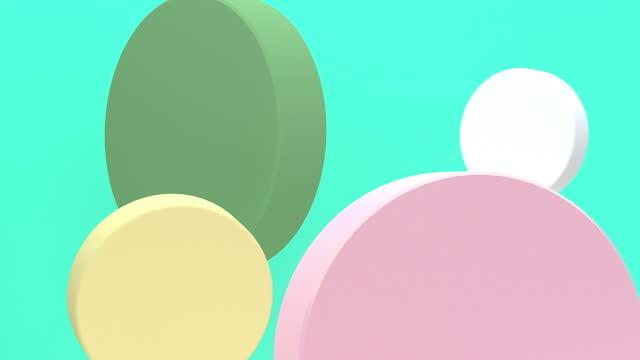 白い背景、3dレンダリング、コンセプト:抽象的な背景、モーショングラフィック、パーティー上の幾何学的な移動の流れ。 - パステルカラー点の映像素材/bロール