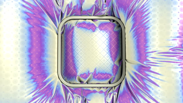 geometric rectangular badge lies down on a multi colored wavy iridescent glitter fabric with a metallic sparkling animated pattern. 3d rendering digital animation. 4k, ultra hd resolution - logo stock videos & royalty-free footage