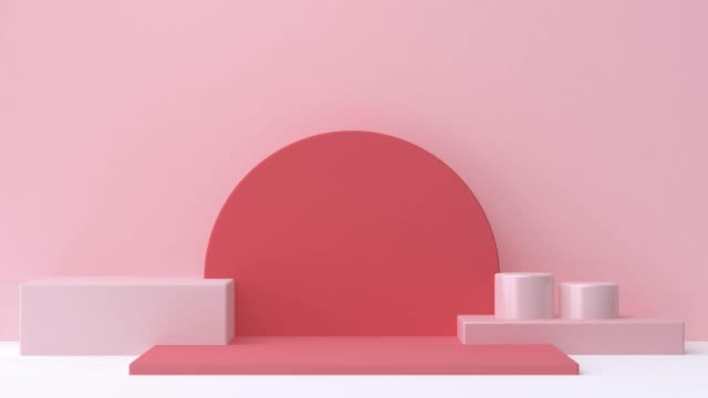 geometric shape wall scene red pink white 3d rendering abstract motion - cylinder stock videos & royalty-free footage