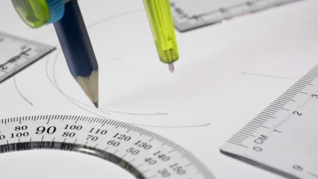 geometry drawing instruments. - drawing compass stock videos & royalty-free footage