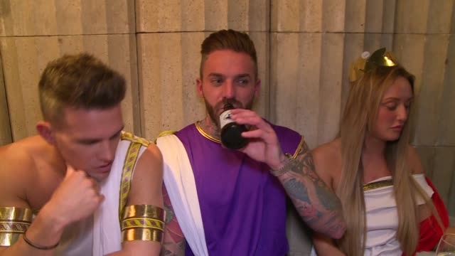 geordie shore show launch; more of gaz, aaron and charlotte crosby interview sot / gvs geordie shore cast all eating and drinking greek feast,... - greek food stock videos & royalty-free footage