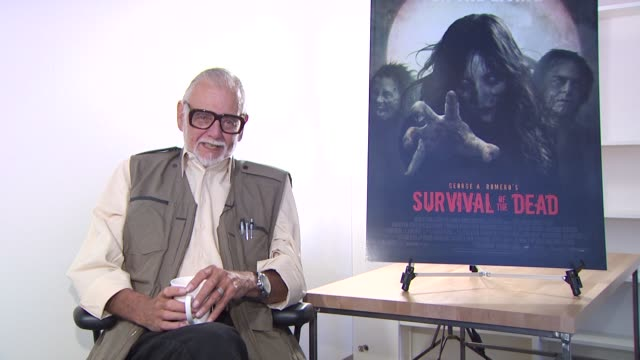 george a. romero on why he decided not to make a cameo in this film. at the 'survival of the dead' junket at los angeles ca. - cameo brooch stock videos & royalty-free footage