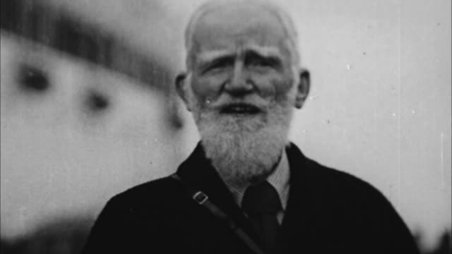 George Bernard Shaw joking that every one is always glad to see him in America / Miami Florida USA