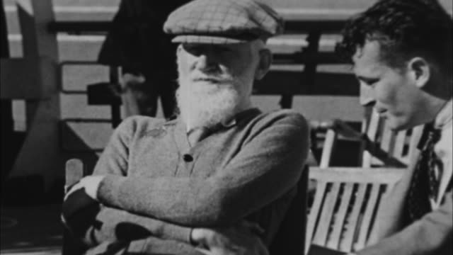 george bernard shaw saying he came to america to get away from england / miami, florida, usa - 1933 stock videos & royalty-free footage