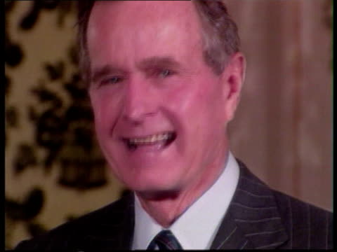us election trail night tokyo tms george bush with wife barbara out car along shake akihito and his wife michiko zoom in tlbv guests standing as high... - emperor of japan stock videos and b-roll footage