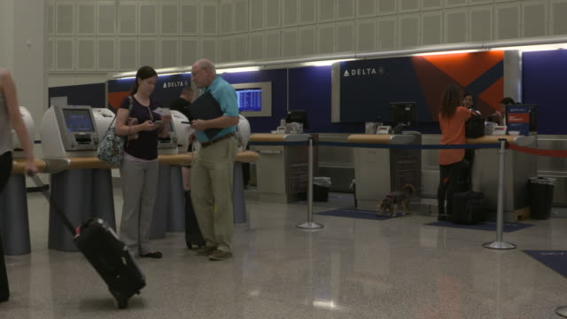 kiah george bush intercontinental airport in houston texas delta airlines checkin counter and a passenger checking in for travel with a pet dog on... - delta stock videos and b-roll footage