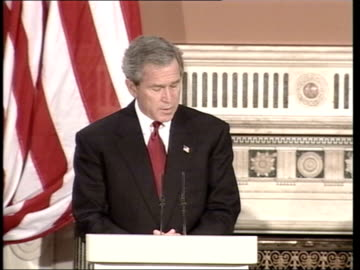 george bush state visit: response to terrorist attack; itn pool england: london: westminster abbey: int us president george w bush looking on as us... - lying down stock videos & royalty-free footage
