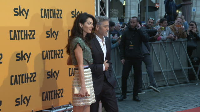 george clooney, amal clooney at catch 22 premiere on may 12, 2019 in rome, italy. - ジョージ・クルーニー点の映像素材/bロール
