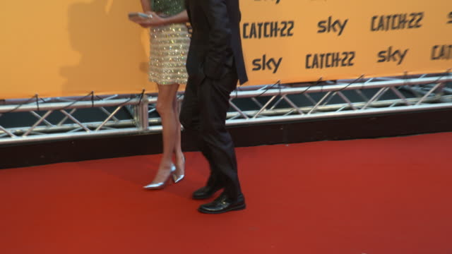 george clooney, amal clooney at 'catch-22' premiere on may 12, 2019 in rome, italy. - ジョージ・クルーニー点の映像素材/bロール