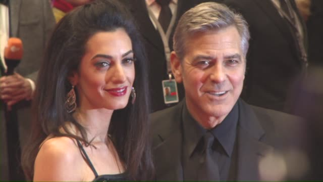 george clooney, amal clooney at 'hail, caesar!' opening ceremony red carpet - 66th berlin international film festival at berlinale palast on february... - ジョージ・クルーニー点の映像素材/bロール