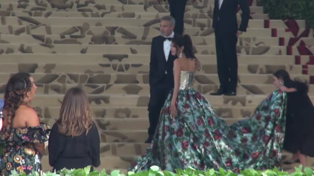 george clooney amal clooney attend heavenly bodies fashion the catholic imagination costume institute gala at the metropolitan museum of art in new... - george clooney stock videos & royalty-free footage